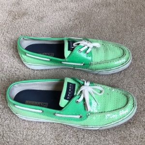 Green sparkle Sperrys